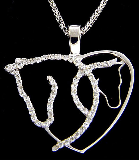 14kt White Gold Mare & Foal Heart Pendant