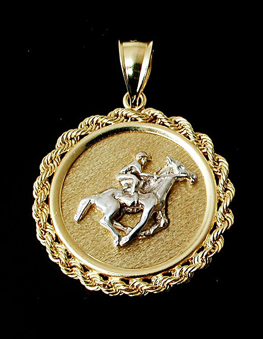 Two Tone Thoroughbred Coin Pendant