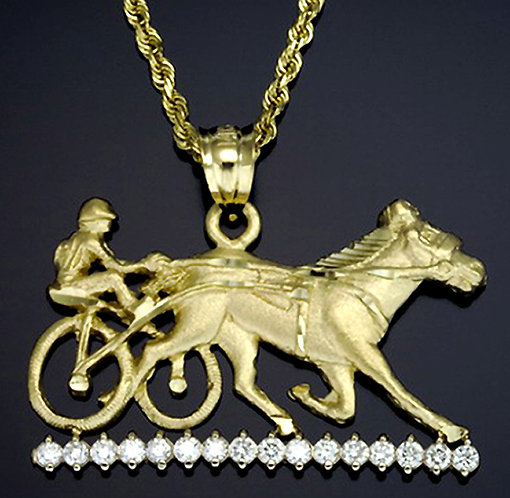 14kt Yellow Gold Sulky Pendant Set With Diamonds