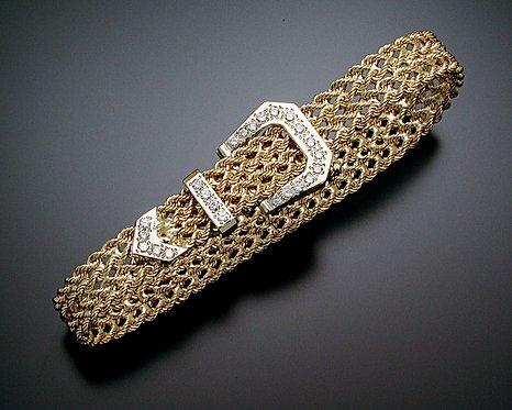 Thin Gold and Diamond Bracelet