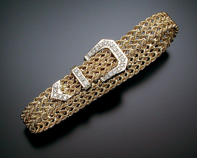 Thin Gold and Diamond Bracelet
