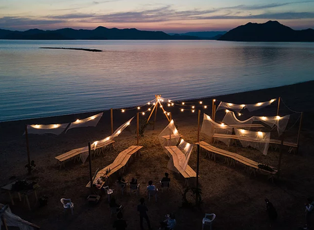 干潮時の渚で「一日だけの結婚式」