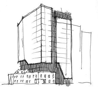 Croquis projet BRICKFIELD par Forme Studio Architecture