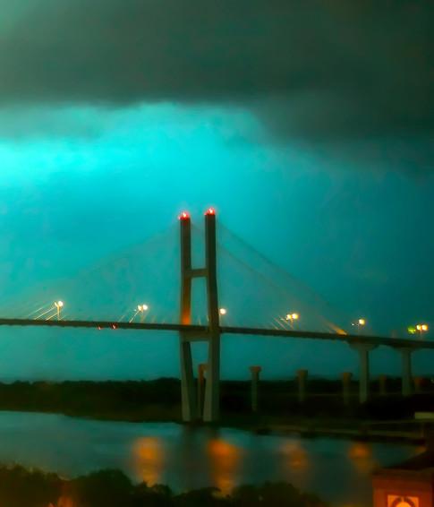SAVANNAH BRIDGE AT NIGHT