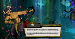 Pan, God of the Wild - Character intro screenshot in the style of Hades by Supergiant Games