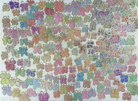 Drawing of dozens of repeated colorful butterflies outlined in gold marker