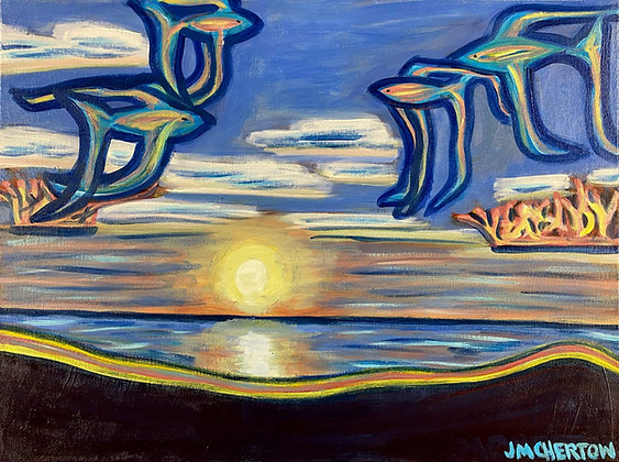 """Flying Fish Over Lake Sunrise"" by Jen Chertow"