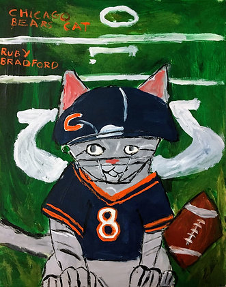 """Chicago Bears Cat"" by Ruby Bradford"