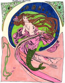 """Brunette Nouveu Mermaid"" by Matthew Bianchi"