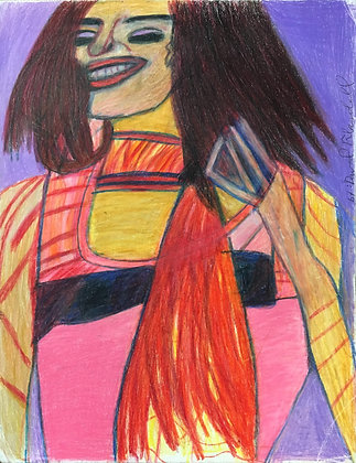 """Red Scarf Woman"" by David Blaisdell"