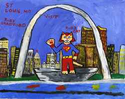 """""""Ruby Cat Visits the St. Louis Arch"""" by Ruby Bradford"""