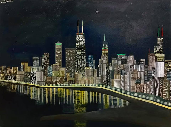 """Chicago at Night"" by Janno Juguilon"