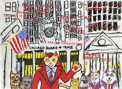 """""""Ruby Cat Visits the Chicago Board of Trade"""" by Ruby Bradford"""