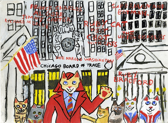 """Ruby Cat Visits the Chicago Board of Trade"" by Ruby Bradford"