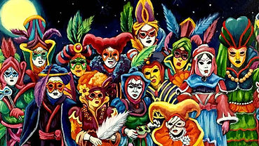 Painting of crowd of 12 people dressed in colourful Venetian carnival costume and masks