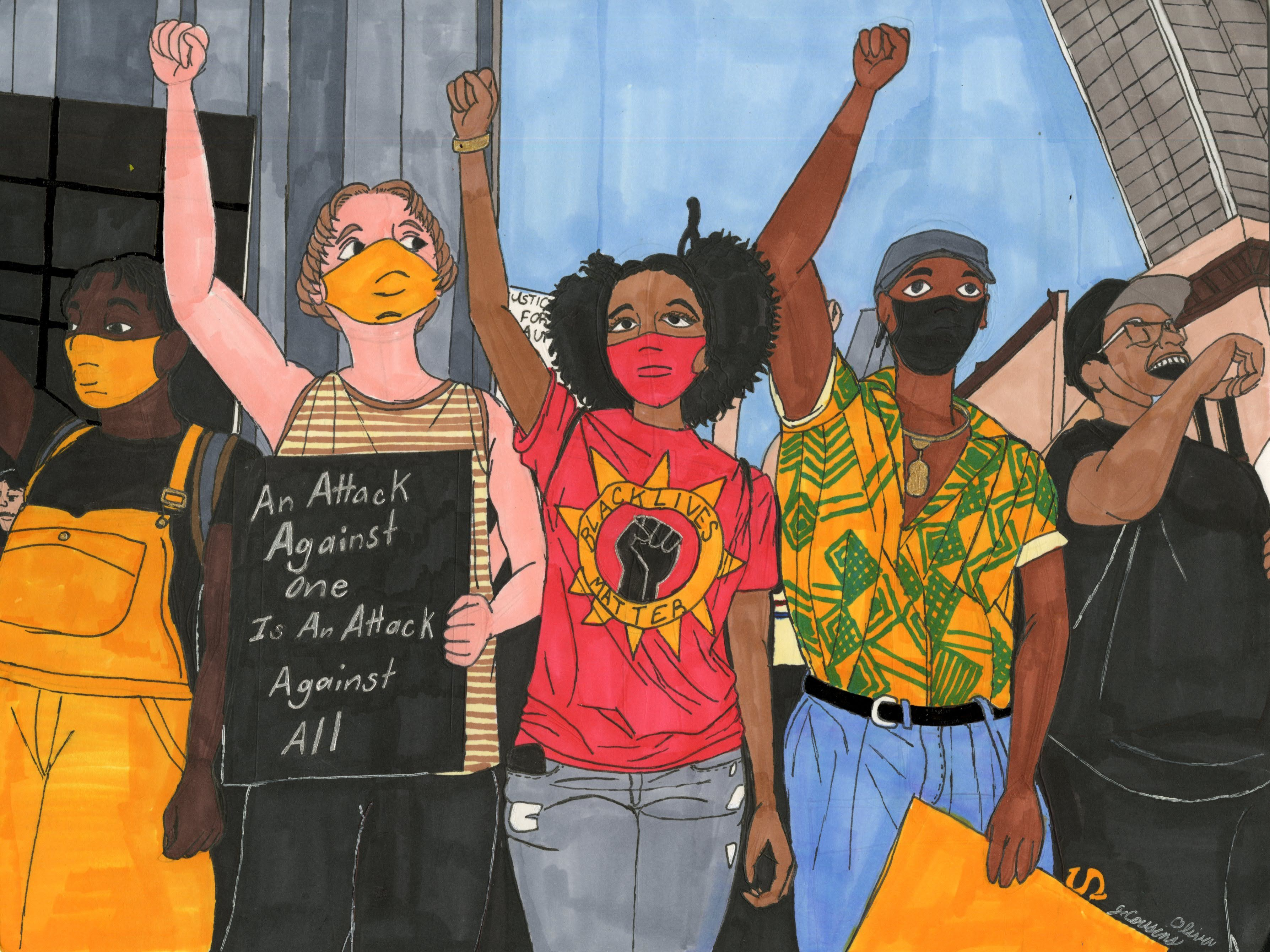 """BLM Protesters"" by Jacqueline Cousins Oliva"