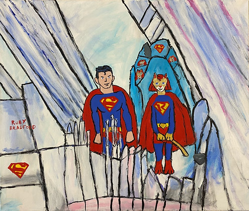 """""""Superman and Super Ruby Cat in the Fortress of Solitude"""" by Ruby Bradford"""