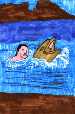 """""""Swimming with Dolphin"""" by C. M. Butterfly"""