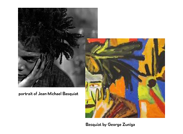 Side by side comparison of photo of Basquiat next to abstracted colorful painting of same photo