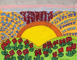 """Sunrise Over Flowers"" by Safiya Hameed"