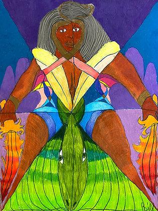"""Flaming Swordswoman"" by Bill Douglas"