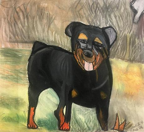"""""""Happy Rottweiler"""" by George Zuniga"""