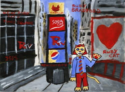 """""""Ruby Cat Visits Time Square"""" by Ruby Bradford"""