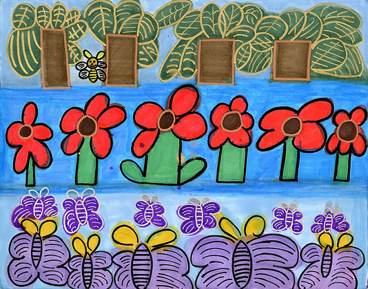 """""""Leaves, Flowers, and Butterflies"""" by Safiya Hameed"""