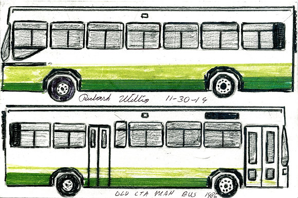 """Old CTA Man Green Bus"" by Ricky Willis"