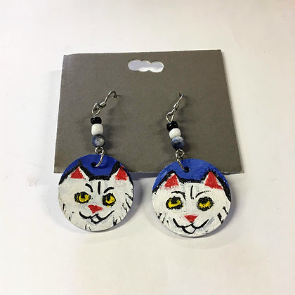 """White Cats on Blue Earrings"" by Ruby Bradford"