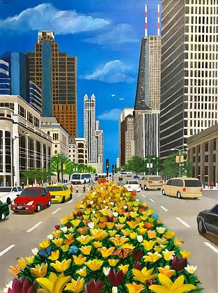 """""""Michigan Ave Tulips"""" by Janno Juguilon"""