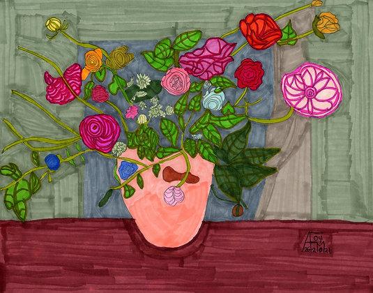 """""""Arrangement in a Pink Vase"""" by Allen McNair"""