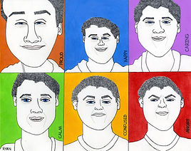 Six black and white faces displaying specific emotions, which are labelled in each of the six boxes