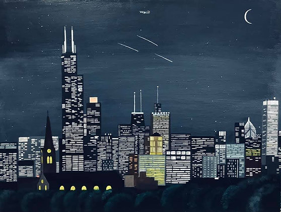 """Chicago Midnight Skyline"" by Janno Juguilon"