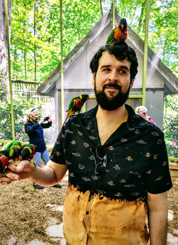 John Benhke with Birds