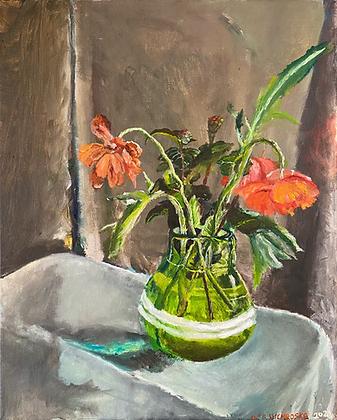 """""""Orange Flowers in a Green Vase"""" by Luke Shemroske"""