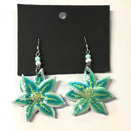 """Turquoise Flower Earrings"" by John Behnke"