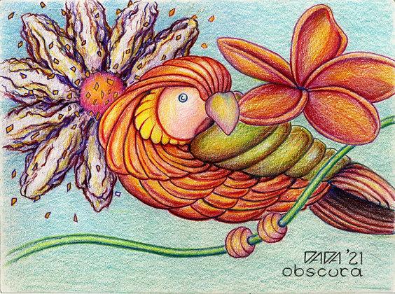 """""""Parrot with Flowers"""" by Paul Kowalewski"""