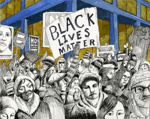 Original art portraying a peaceful Black Lives Matter march in Chicago