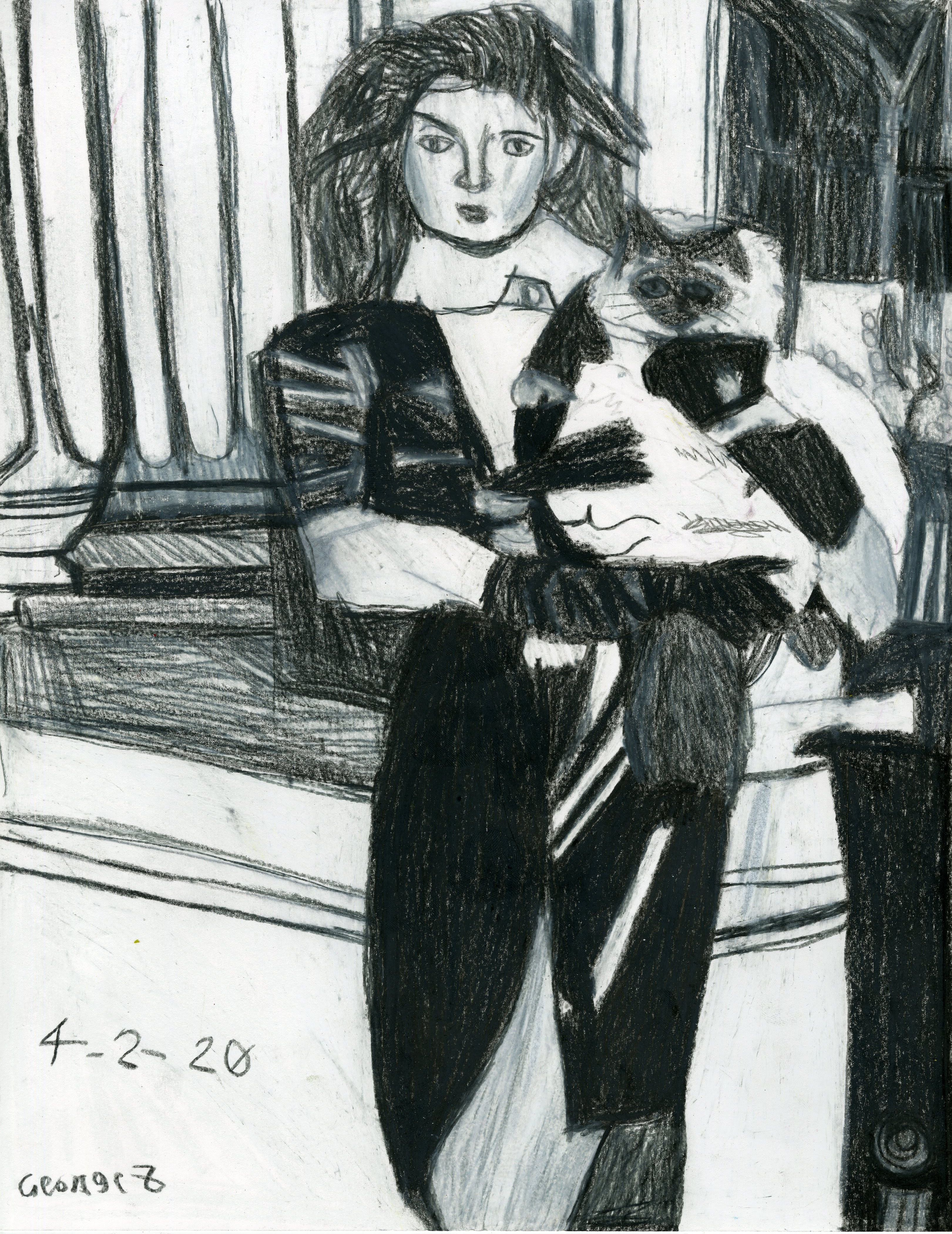 """Woman with Cat"" by George Zuniga"