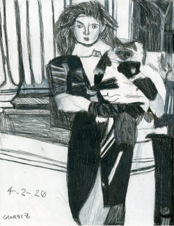 """""""Woman with Cat"""" by George Zuniga"""