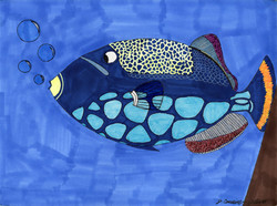 """""""Blue Spotted Fish"""" by Jacqueline Cousins Oliva"""