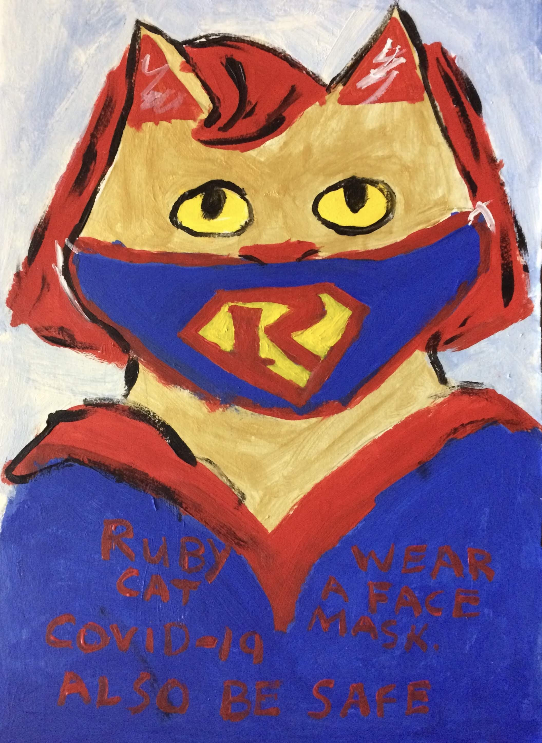 """Ruby Cat Wears a Face Mask"" by Ruby Bradford"
