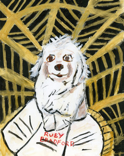 """Dog in Wicker Chair"" by Ruby Bradford"