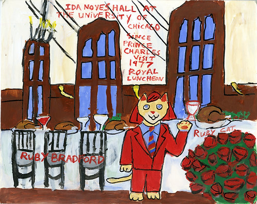 """Ruby Cat Visits Ida Noyes Hall"" by Ruby Bradford"