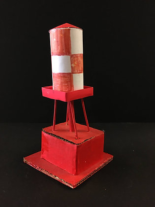 """""""Small Red and White Water Tower"""" by Ricky Willis"""