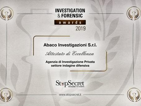 Investigation & Forensic Awards 2019: Abaco Investigazioni vincitrice.
