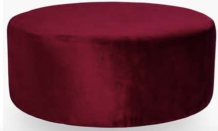 Large Round Ottoman - Burgundy