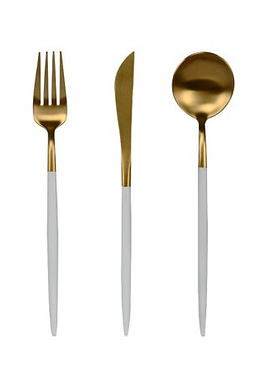 Slimline White + Gold Cutlery - Set of 3