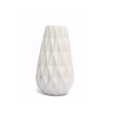 Diamond Geo White Bud Vase